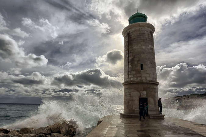 Waves crashing in Marseille, France